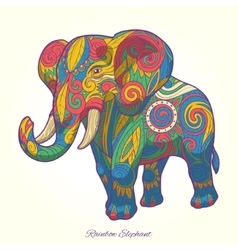 Elephant rainbow colorful ornament ethnic vector