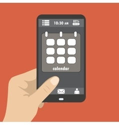 Hand holding smart phone the screen icon calendar vector image
