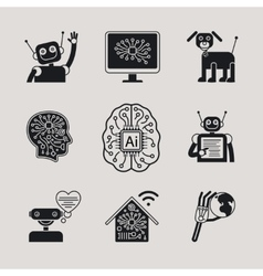 Ai artificial intelligence icons and signs vector