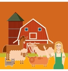 Farm banner with flat animals3 vector image
