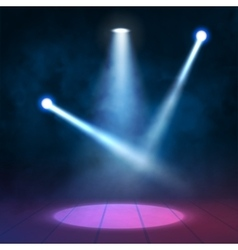 Floodlights spotlights illuminates wooden scene vector image