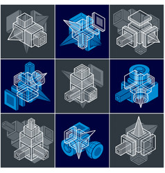 Abstract constructions set dimensional designs vector