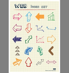 Arrows web icons set drawn by color pencils vector image vector image