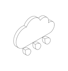 Cloud rain icon isometric 3d style vector