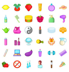 Cosmetic product icons set cartoon style vector