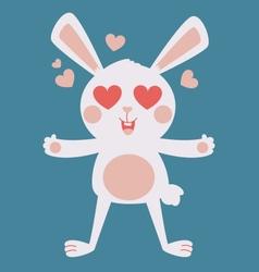 Cute bunny crazy in love vector