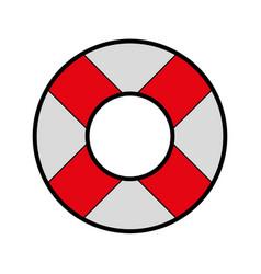 Cute red lifebuoy icon cartoon vector