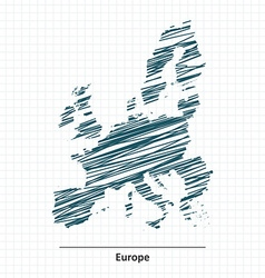 Doodle sketch of europe map vector