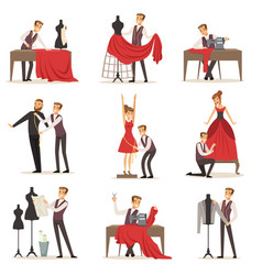 Dressmaker set male designer tailoring measuring vector