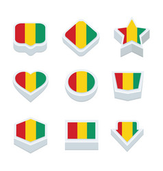 Guinea flags icons and button set nine styles vector