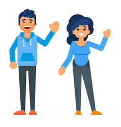 happy characters man and woman vector image vector image