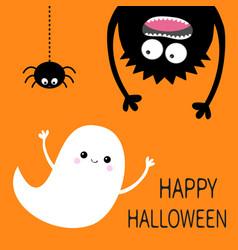 Happy halloween card flying ghost spirit monster vector