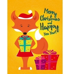 Holiday card with fox vector image vector image