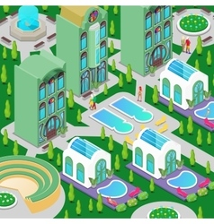 Isometric Hotel Building with Swimming Pool vector image