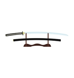 Katana on a wooden stand flat icon vector