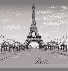 landscape with eiffel tower in black and white vector image