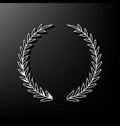 Laurel wreath sign gray 3d printed icon vector