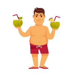 Man at summer beach on holiday vacations vector