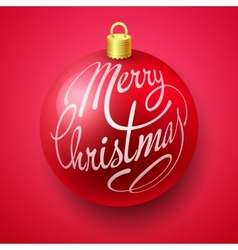 Merry Christmas Bauble with Lettering design vector image vector image