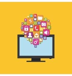 Mobile app smart tv vector