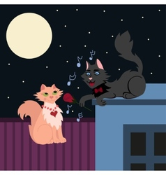Night serenade two loving cats cat in love sings vector
