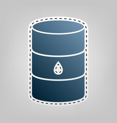 Oil barrel sign blue icon with outline vector