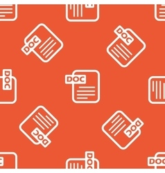Orange doc file pattern vector