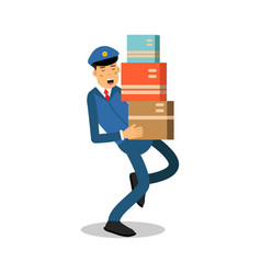 postman in blue uniform carrying heavy parcels vector image vector image