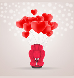 red child car seat with red baloons in shape of vector image