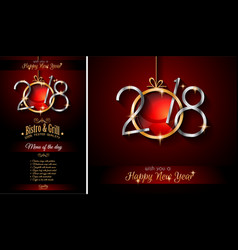 Restaurant menu template for 2018 new year vector