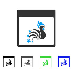 Rooster fireworks calendar page flat icon vector