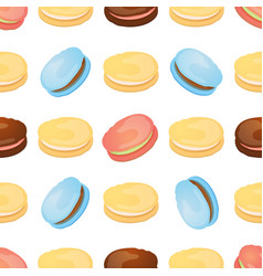 seamless pattern with colorful macaroon on white vector image