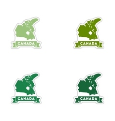 Set of paper stickers on white background Canada vector image