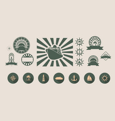 set of travel emblems and design elements vector image vector image