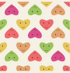 smiling hearts seamless pattern vector image vector image