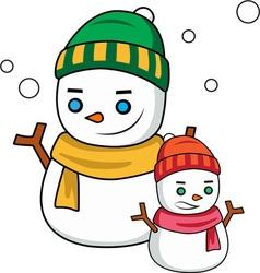 Winter snowmen vector