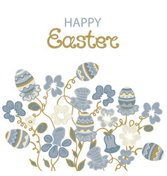 Happy easter card with flowers and paschal eggs vector