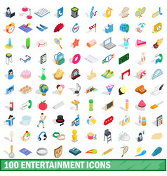 100 entertainment icons set isometric 3d style vector image