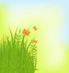 Summer background with grass and butterfly vector