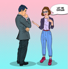 young woman talking with man pop art vector image