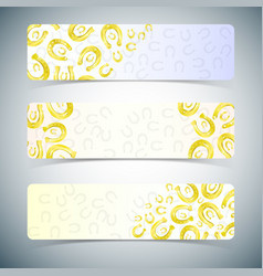 Golden horseshoes banners set vector