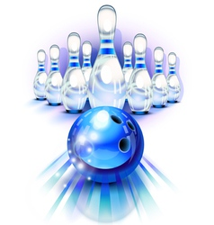 Blue bowling vector