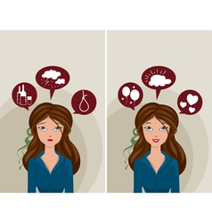 Depression and happiness vector