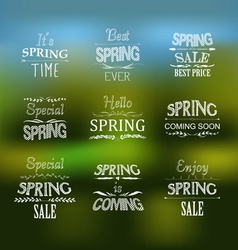 Spring typographic design set vector