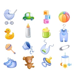 Toys and accessories for baby boy vector