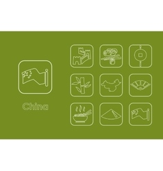 Set of china simple icons vector