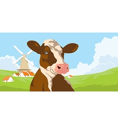 Cows and mill with clouds vector
