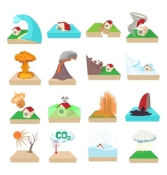 Natural disaster icons set cartoon style vector