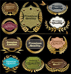 Premium quality leather labels vector