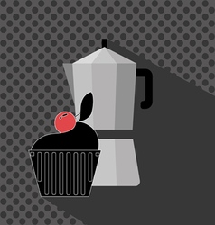 A metal jar of coffee with a black cake with red c vector